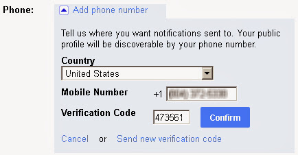 Google plus phone verification