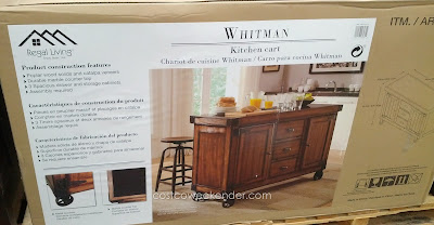 Use the Regal Living Whitman Kitchen Cart as a bar to serve drinks or dessert cart