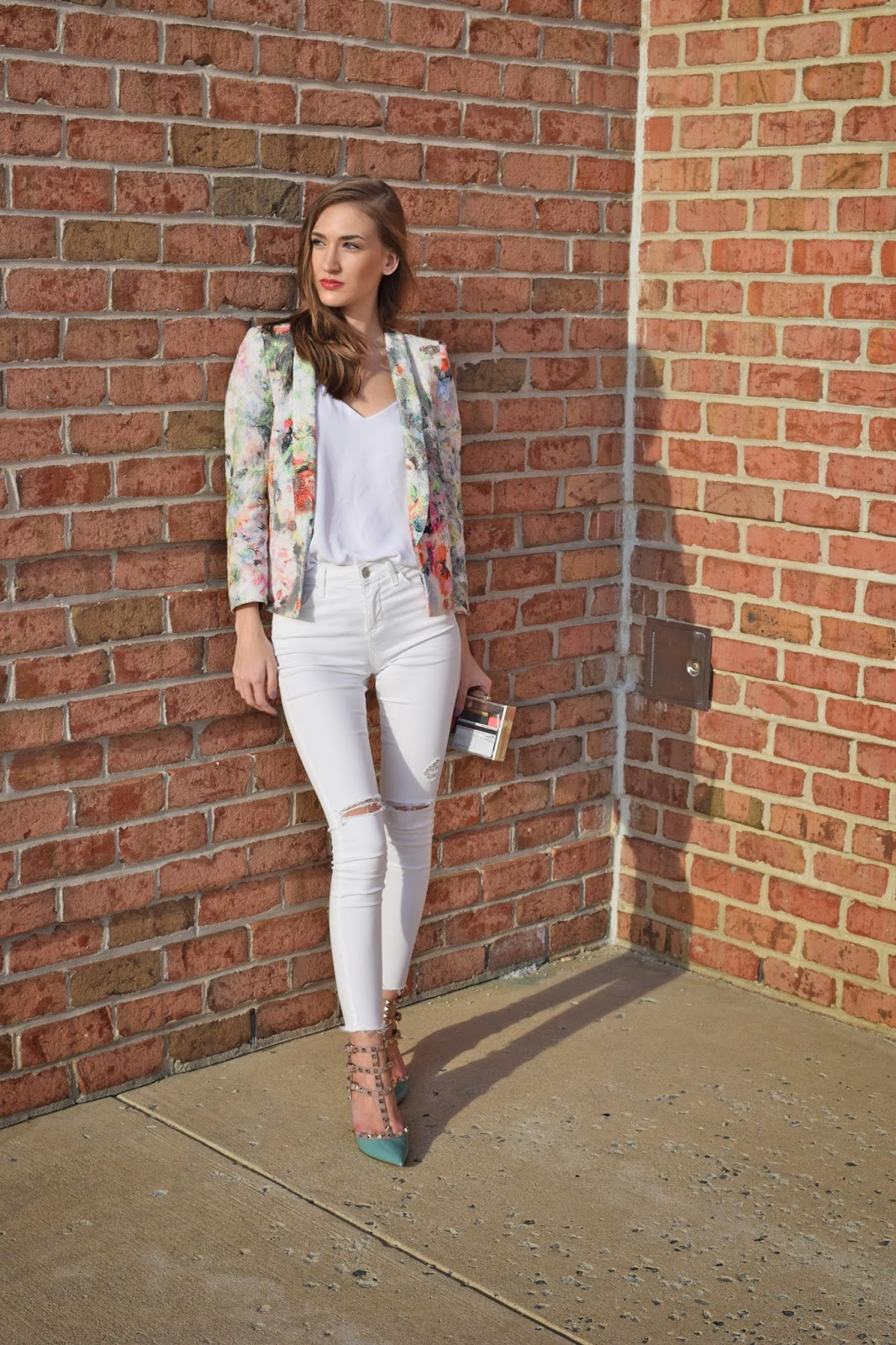 Wearing Persun Mall Embossed Floral Blazer, Topshop Moto Leigh Distressed Skinny Jeans, Express Barcelona Cami, Blue Valentino Rockstuds