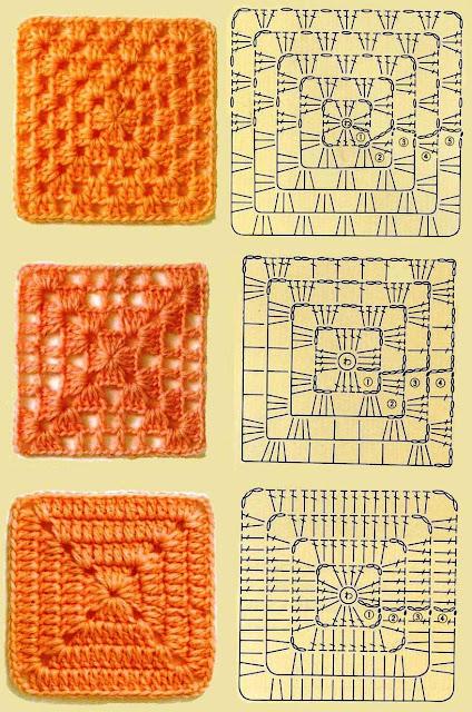 Уроки вязания квадратов крючком 72
