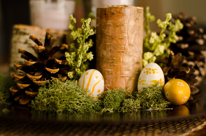 Birch Centrepiece | birch, pinecone, moss, candle, Easter embellishment | personallyandrea.com
