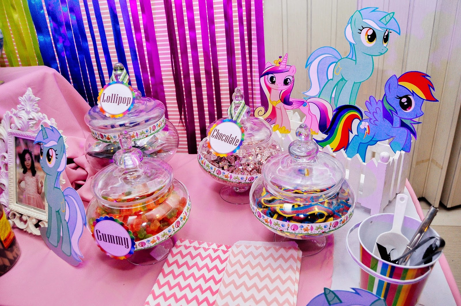 The Party Decor Was A Rainbow Theme Of Pink Purple Orange Yellow And Aqua It Such Bright Fun I Love Mix Colors