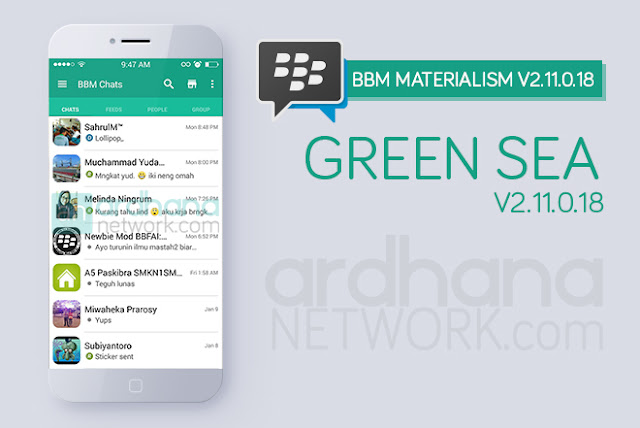 BBM Materialism Green Sea - BBM Android V2.11.0.18