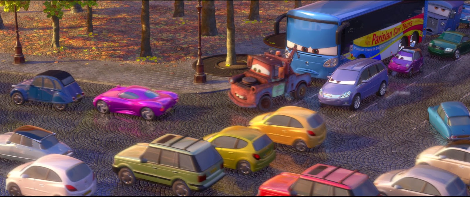 dan the pixar fan cars 2 emmanuel paris bus. Black Bedroom Furniture Sets. Home Design Ideas