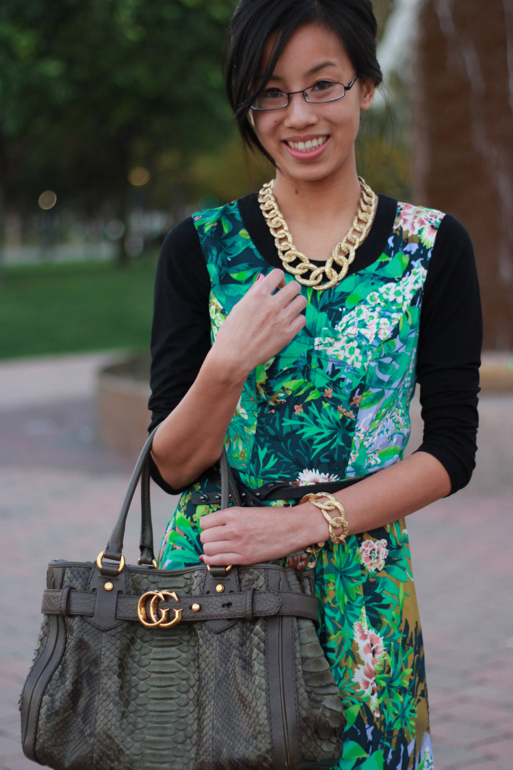 Tracy Reese dress rainforest croc-etched jewelry gucci running tote fall dresses