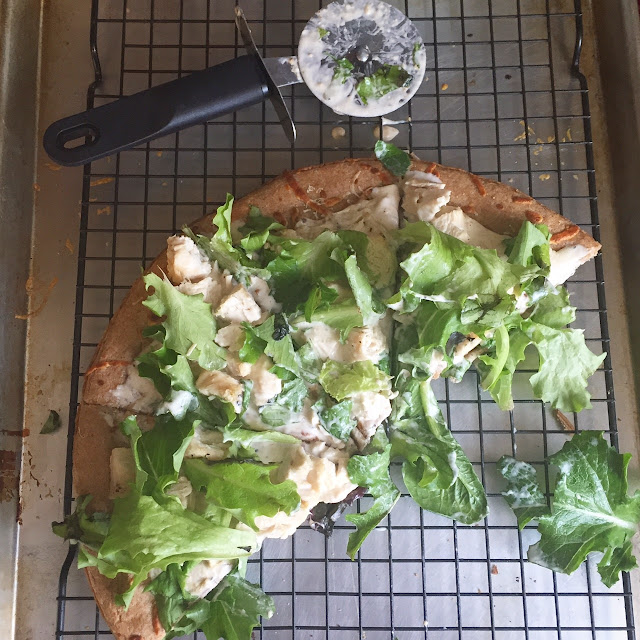 Classic chicken Caesar salad becomes a pizza