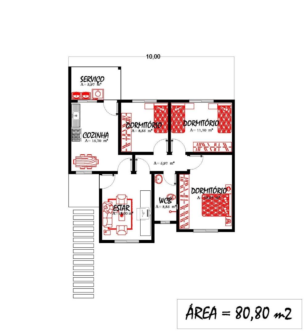 S projetos gr tis projeto gratis de uma casa com 80 for Ecksofa 1 80 m