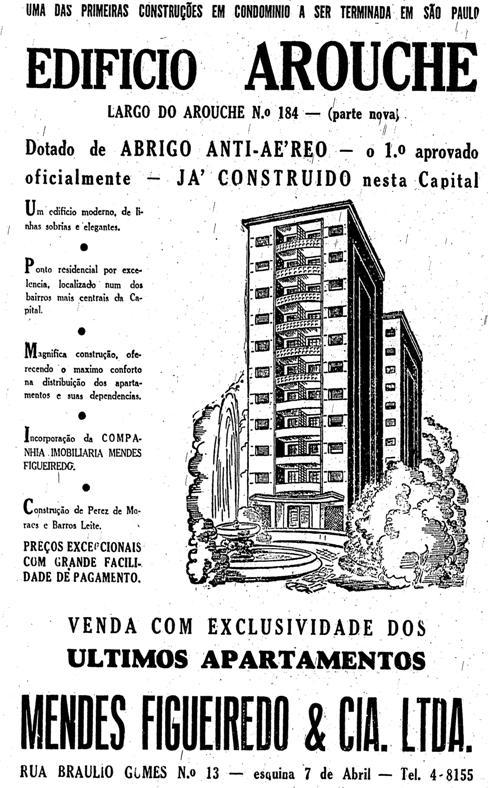 Propaganda do primeiro edifício em São Paulo - Edifício Arouche, em 1944.