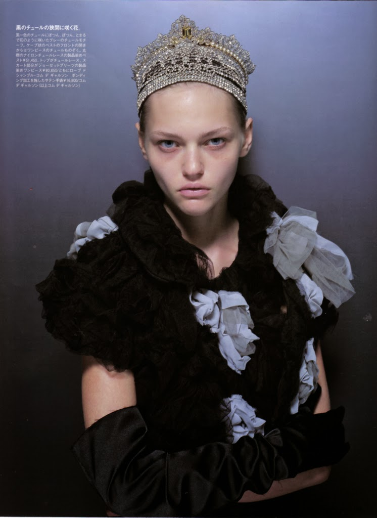 Sasha Pivovarova by Higashi Ishida in Madame Figaro, Setember 2004 - with japanese test and caption, young, dark, no makeup, sparse makeup, raw, fantasy, crown
