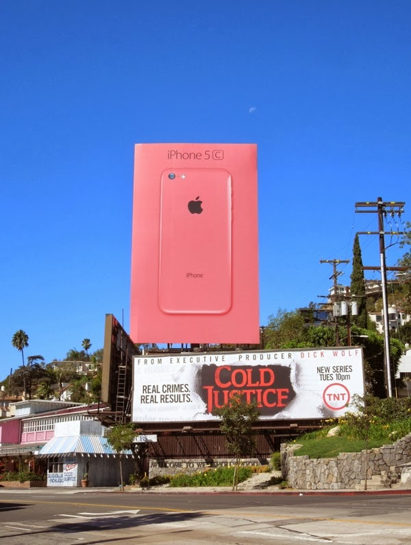 Giant pink iPhone 5c billboard Sunset Strip