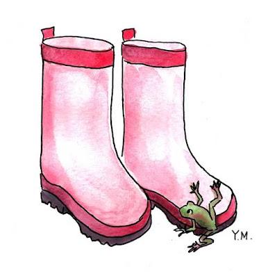 Boots and frog by Yukié Matsushita
