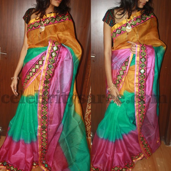Mirror work kota saree saree blouse patterns for Mirror work saree