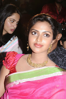 Actress Amala Paul Pictures in Pink Saree at Saivam Movie Audio Launch  0004.jpg