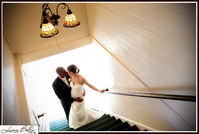 Karen & Chris kiss in the stairwell - Patricia Stimac, Seattle Wedding Officiant