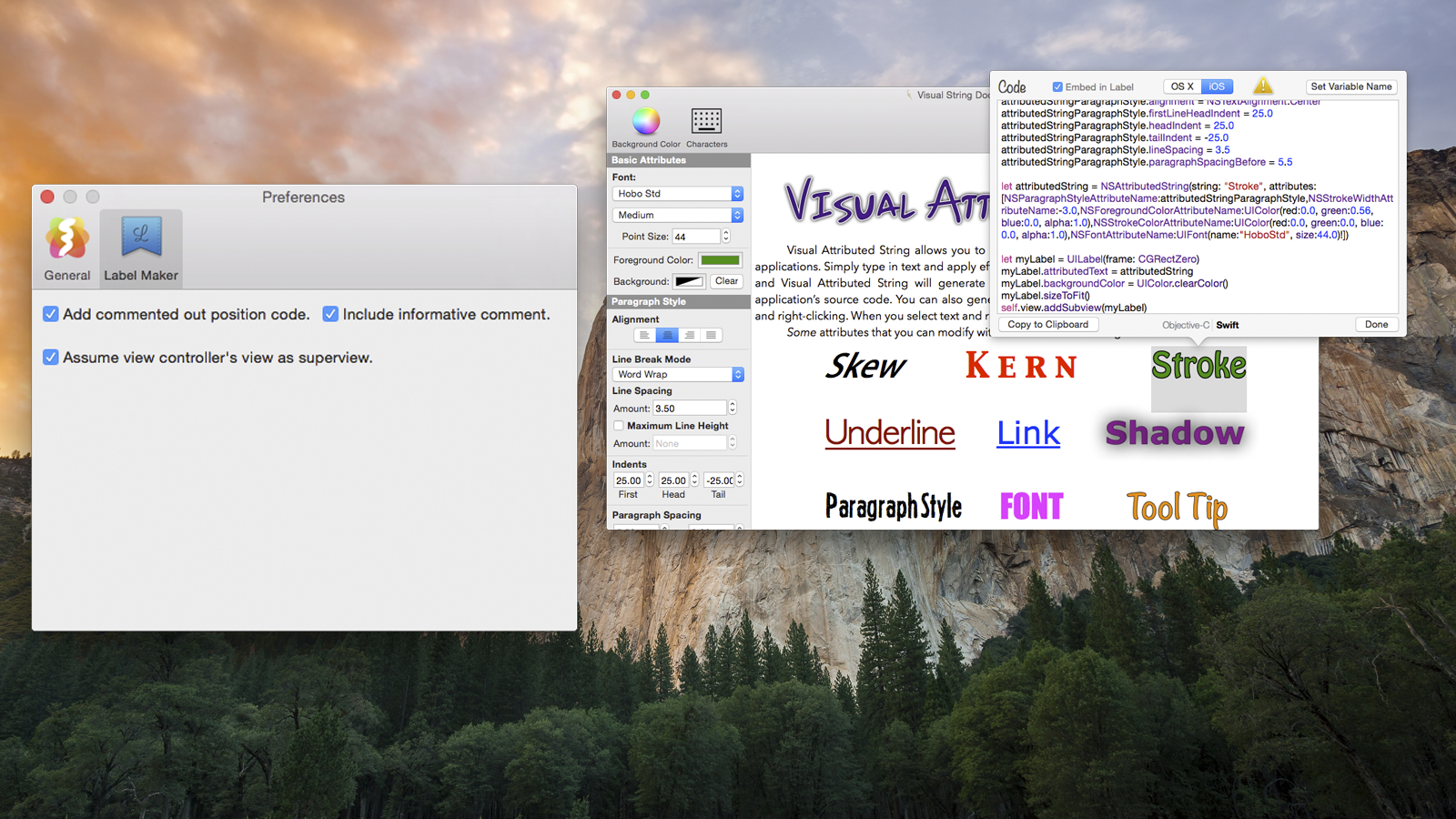 Visual Attributed String Mac app screenshot showing both the main app window and the preferences window.