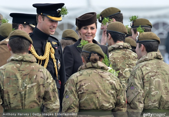 HRH Prince William and Catherine, Duchess of Cambridge meet cadets during the St Patrick's Day Parade at Mons Barracks