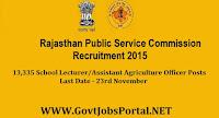 RAJASTHAN PUBLIC SERVICE COMMISSION RECRUITMENT 2015