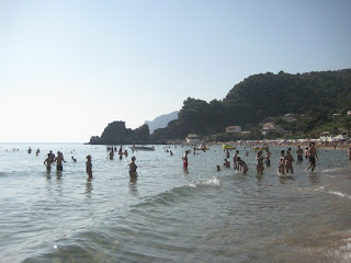 The crowded Pelekas Beach on Corfu, Greece.