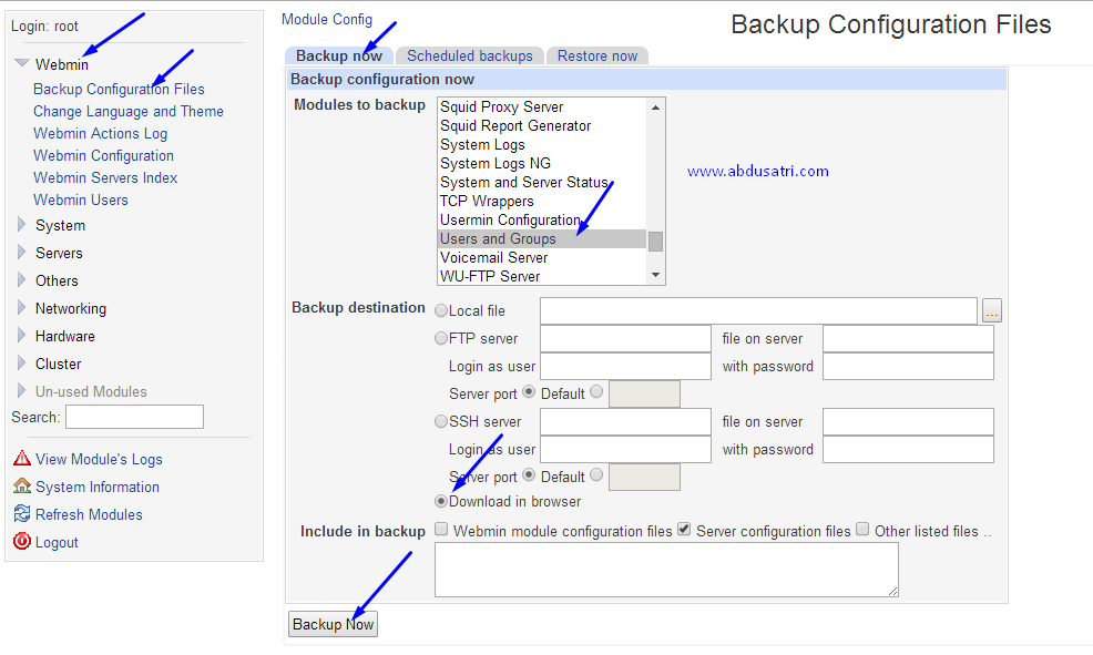 cara backup dan restore user ssh di webmin