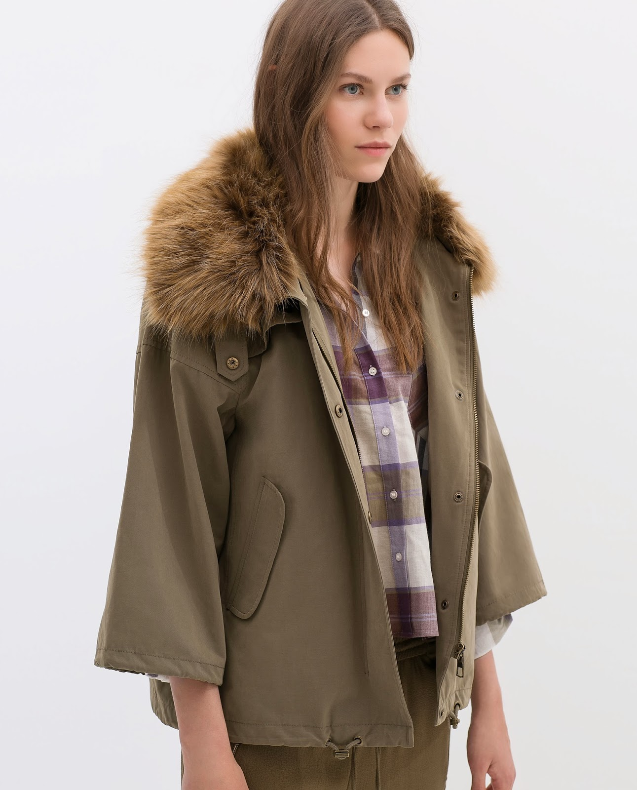 parka with fur collar zara