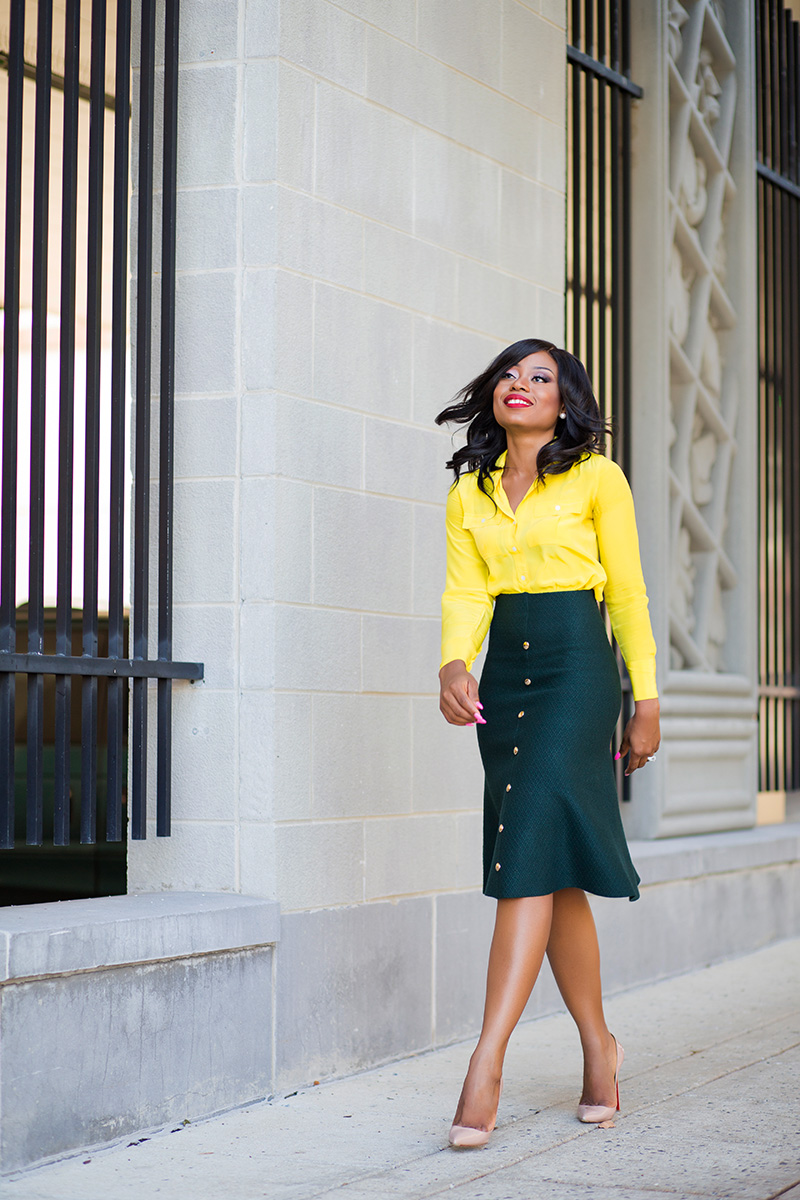work style in chicwish midi skirt