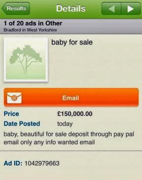 Μητέρα διαφήμιζε το 4 μηνών βρέφος της για πώληση στο διαδίκτυο για τα Χριστούγεννα