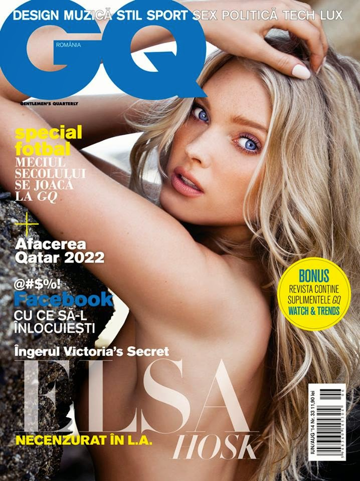 Elsa Hosk goes topless for GQ Romania June/August 2014