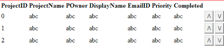 Moving rows of datatable up and down in using c - Move table rows up and down using jquery ...