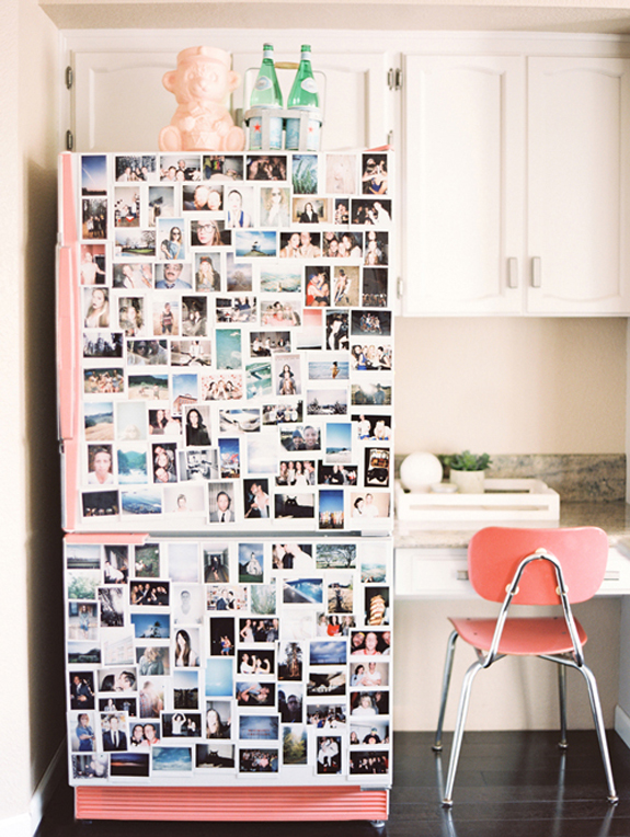 photo snapshots on pink fridge