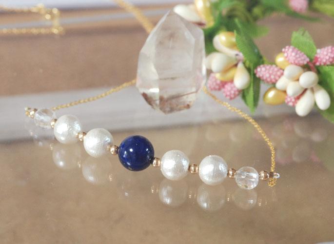 【Cotton Style】高品質ラピスラズリ & コットンパール 14KGF ネックレス