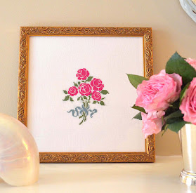 French Rose Bouquet Cross Stitch Pattern