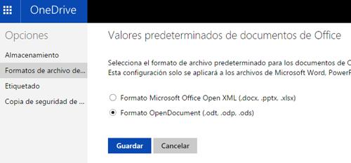 Como cambiar los valores predeterminados de Office OneDrive