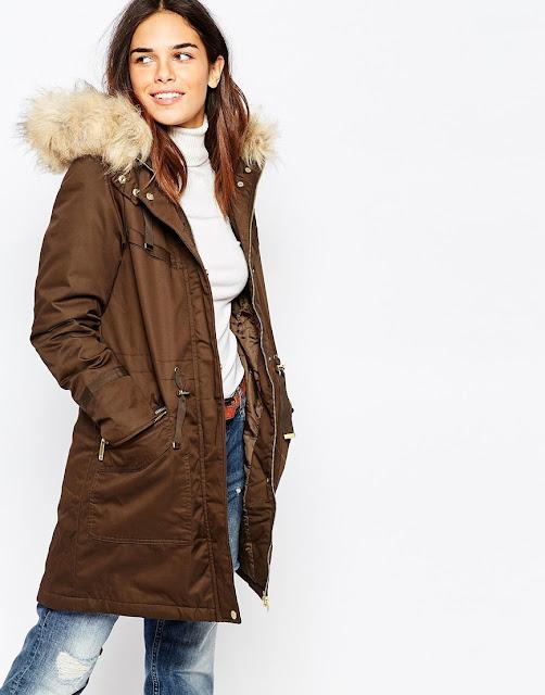 warehouse fur hood parka, brown parka with fur hood,