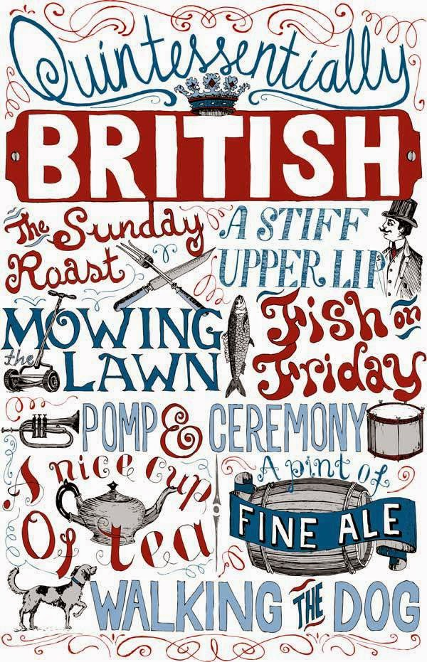 Quintessentially British hand lettered poster by Debbie Kendall