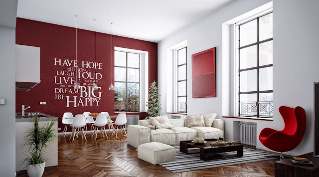 Feng shui red white living room wall decal