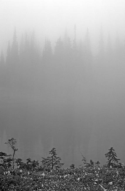 Mountain Lake in fog
