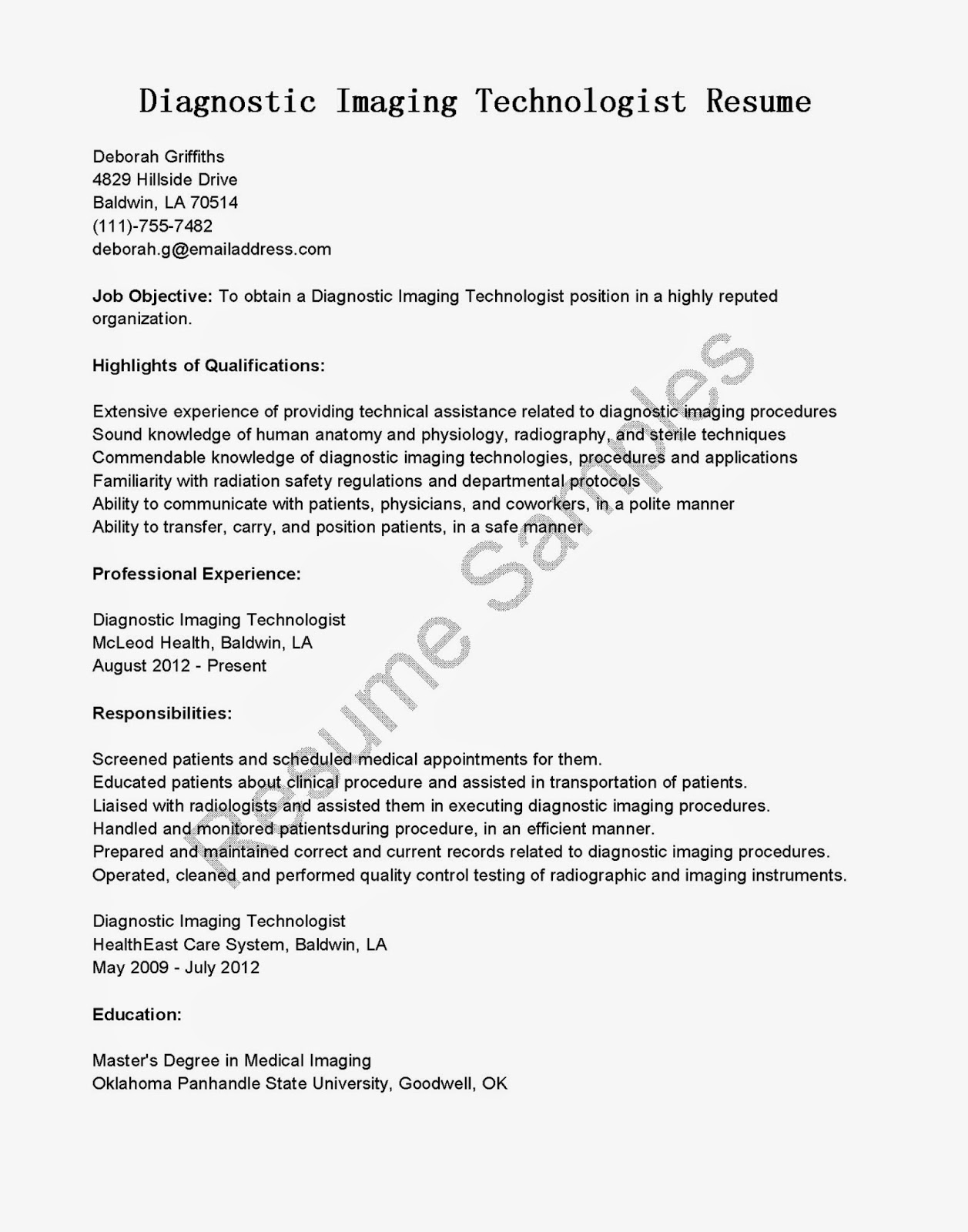 Resume Samples Diagnostic Imaging Technologist Resume Sample