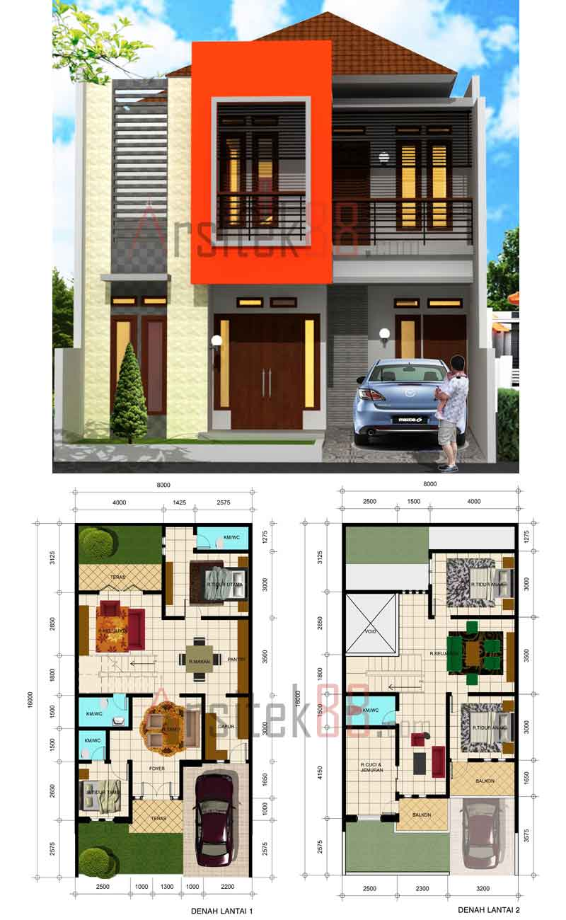 Denah Rumah 2 Lantai Sederhana Minimalis 2014