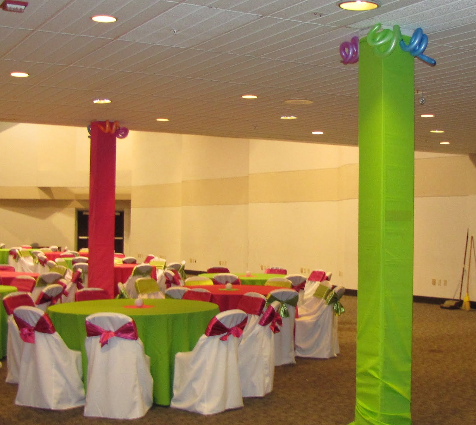 per prom committees request we covered the pillars with lime and pink