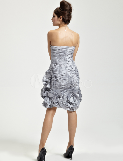 China Wholesale Clothes - Adorable Silver Taffeta Strapless Applique Ladies Cocktail Dress