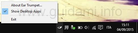 EarTrumpet opzione comprendi app desktop
