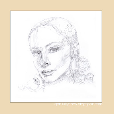how to draw woman portrait cross-hatching (stage 1)