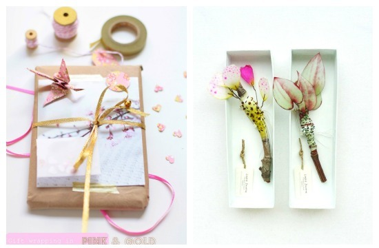 pink and gold gift wrapping, pretty flowers
