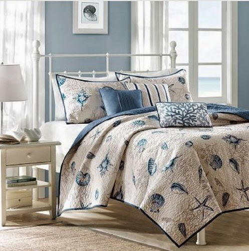 Seashell Beach House Nautical King Quilt, Shams & Toss Pillows (6 Piece Bedding)