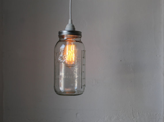 Inspired whims diy homemade pendant lights for Hanging lights made from mason jars