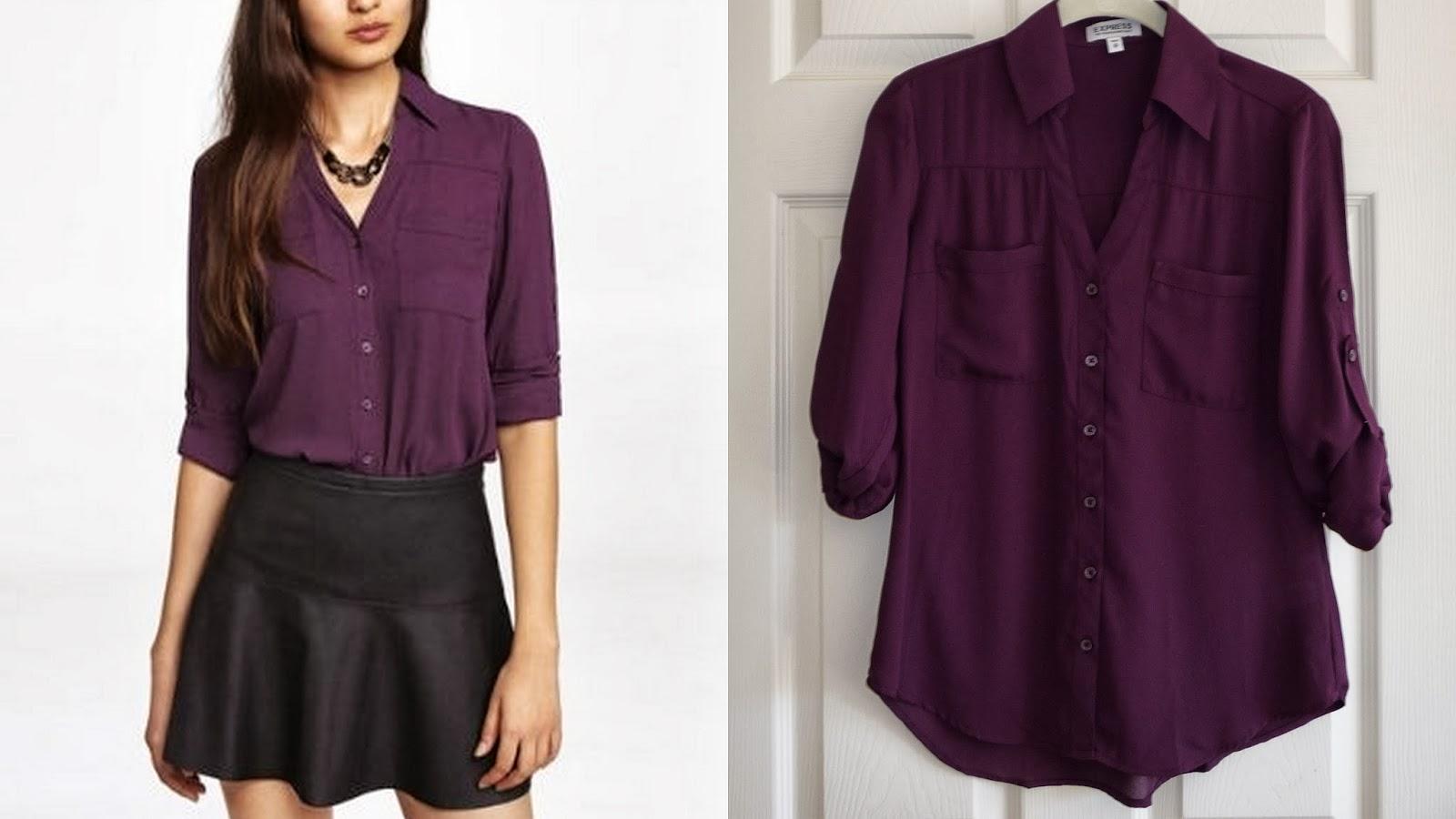 Express portofino shirt, blouse, top, wine color