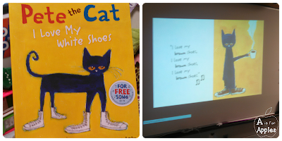 Reading Pete the Cat to practice color words