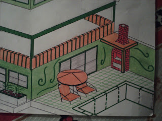 Churrasqueira e piscina da casa (desenho técnico)