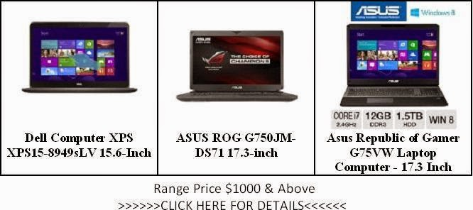 The List of Laptops Price $1000 & Above