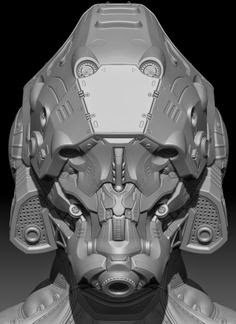 mechanical head - zbrush -3dmax- maya -c4d